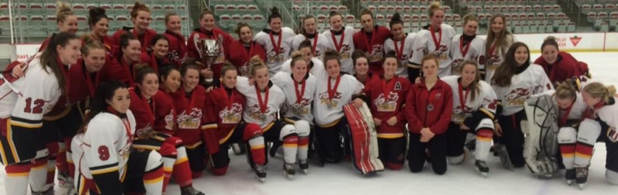 The Midget Elite Calgary Fire White & Red teams pose for a photo following their battle at Wickfest.